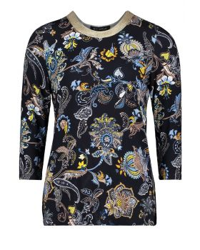 BETTY BARCLAY BLUSE  MARINE M/GULD